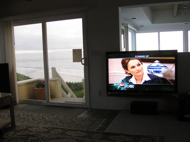 "55"" LCD and view out front door"
